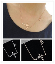 New EKG Heart Beat Necklace Heartbeat Rhythm with Dangling Heart Womens Jewelry