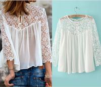 2014 brand white lace blouse for women chiffon long sleeve blouse shirts crochet tops women blusas femininas roupas femininas