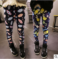 5pairs 2014 Children girl's Autumn Winter thicker legging Skinny printed umbrella&monster pants ZT264