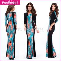 2014 Brand Formal Dresses Women's Celeb Multi Color Dress Slim Long Sleeve Elegant Prom Dress long sleeve Bodycon Maxi Dress 45
