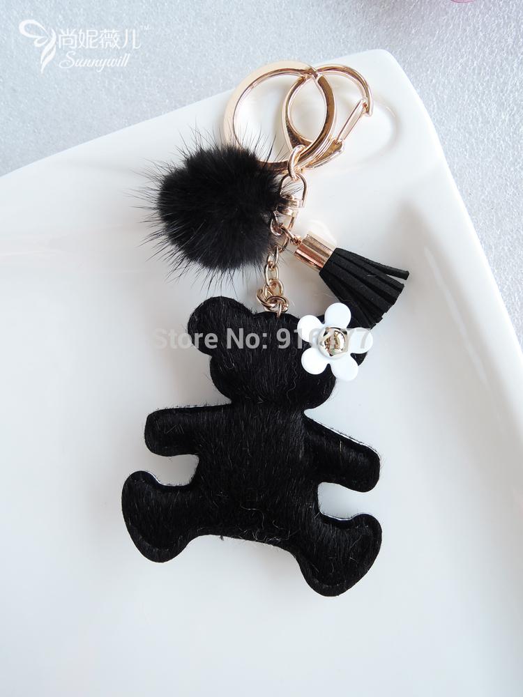NEW Cute Free shipping fashion women accessories car keychain bag charm leather bear fur ball kawaii gift(China (Mainland))