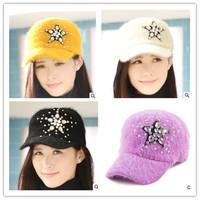 winter fashion women new five-star rabbit hair warm baseball cap