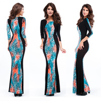 New 2014 Floor Length Dresses Long sleeve Print Dress Body con Maxi Club Dress 9085 O neck Slim elegant casual dress