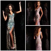 Sexy Blingbling V Neck Heavy Rhinestone Crystal Beaded Mermaid High Slit Prom Dress Vestidos De Formatura Longo 2014 E266