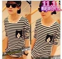 2014 Navy style shirt navy style long-sleeve men's clothing t-shirt male lovers stripe shirt basic shirt