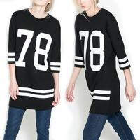 2015 New Summer Women Celebrity 78 printed American Baseball Tee Oversized T Shirt Top Short Sleeve Loose Dress, Black,S-XL T42