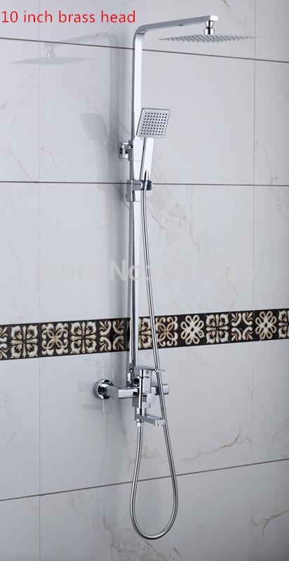 10 inch high quality chrome square bathroom shower faucet set mixer tap whole set bath mixer tap lanos lada kpah column(China (Mainland))