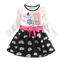 Free Shipping New Peppa Pig Girls Clothes Pepa Pig Baby Casual Dress For 2T 3T 4T 5T 6T Children