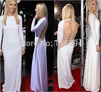 2014 White Back Hollow Out Sexy Bandage Dress Elegant Long Sleeve Party Dress Women Bodycon Club Fashion Casual Maxi Vestidos