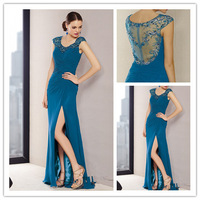 MANSA Elegant Beaded Crystal Cap Sleeves A Line Long Evening Party Dress With Side Slit Sexy Formal Evening Dresses For Women