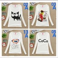 HOT SALE!2014 new women autumn t-shirt cotton long sleeve printed t shirt women's casual top t shirt 14 models