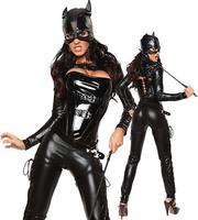 Erotic Lingerie Sexy Leotard Halloween Women Costume Black Leather PVC Magician Costumes, cat girl's dress, cosplay dress