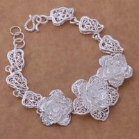 925 sterling silver bracelet, 925 sterling silver fashion jewelry Big Flower Bracelet /aasairza bndakeka H026