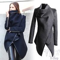 New Arrival 2014 Fashion Women Winter Coats Long Sleeve Irregular Woolen Overcoat Plus Size Trench Stylish Wool Coat Abrigos