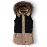 Women's Fashion Waistcoat Female Fur Collar Women Cotton Vest Cotton Padded Jacket ES BR RU US UK Color Matching 4003