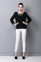 Free shipping Autumn Black White Yellow Women Solid O-Neck Long Sleeve Chiffon Blouse Under Shirt M/L/XL