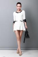 Free shipping Black White Blue Women Solid O-Neck Long Embroided Sleeve Chiffon Dress Falbala Dress M/L/XL/XXL