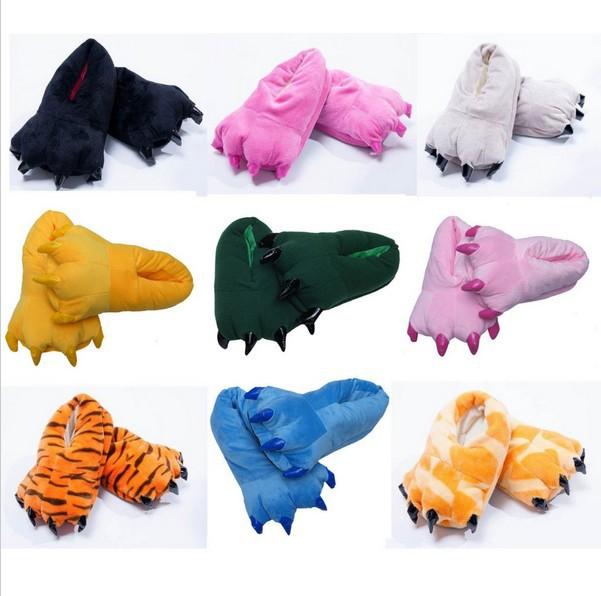 Unisex Cosplay Cartoon Onesie All-inclusive Slippers Animal Pikachu Tigger Giraffe Totoro Penguin Dinosaur Paw Warm Indoor Shoes(China (Mainland))