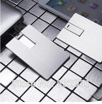 Fashion Metal USB Credit Card USB Flash Drive without Logo Wholesale 10pcs(China (Mainland))