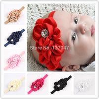Baby Girls Headwear Fashion Rosette New Toddlers Kids Infants Crochet Hairband & Big Flower Headbands Children Accessories 20pcs