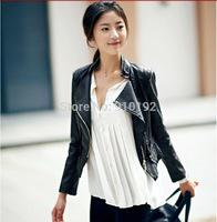 2014 Hitz Korean short Slim PU washed leather motorcycle jacket collar female clothing