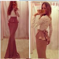 014 Lace dress and fashion sexy dress nightclub blasting series KF168 bandage long bodycon dress frozen dress elsa dress