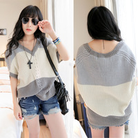 Wholesale ! The New Fashion Style batwing sleeve Sweaters/ Super Quality Women's striped pullover Women's Knitwear Loose Size