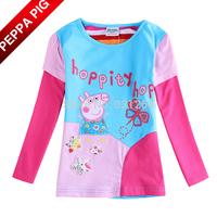 2015 New Toddler Baby Girls Peppa Pig Clothing Fashion Nova Kids 100% Cotton Long Sleeve Butterfly T shirt Children Clothing