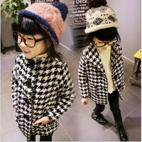 2014 new product autumn and winter clothing coat houndstooth temperament overcoat warm plaid topcoat of kid girls