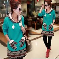 2014 Hot Sale New Women Autumn Winter Fleece Jacket Gloves Pocket Long Sleeve Sweater sport suit women SV19 CB031863