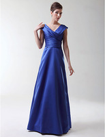 2015 New Arrival Women Blue Elegant Sheath V-Neck Criss-Cross Floor-Length Long Prom Dress Party Gown Formal Evening Dresses
