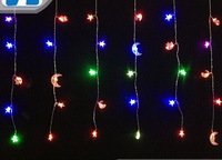 [Seven Neon]Free shipping 110V/220V 2*0.6m 50leds moon&star shape Christmas led curtain Lights for Holiday/Party/Decoration