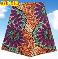 Big flower design cotton wax fabric african wax print fabric for garments AYL-511