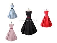 New 50s Vintage Pinup Rockabilly Audrey Hepburn Elegant Classic Sleeveless Little Black Dress Long Big Swing Dress Tutu Vestido