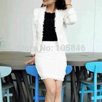 2014 Autumn Winter Fashion Luxury Brand Women Business Wears Tassels Faux Pocket Button Dark Blue Beige Tweel Blaze Skirt Suits