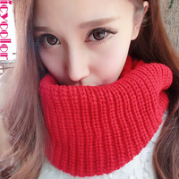 Scarf female autumn and winter knitted scarf yarn male muffler scarf solid color pullover winter thickening