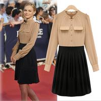 Hot Sale 2014 New Patchwork Plus Size Women Office Dresses Elegant OL Casual  Dress Clothes Party Dresses Plus Size