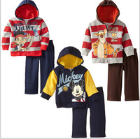 Autumn winter fashion Cartoon Children clothing set boys Tigger Cotton hooded zipper sweater +long pants 2 pcs kid baby suits