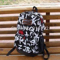 Schoolbags College Wind cloth canvas shoulder bag travel backpack letters