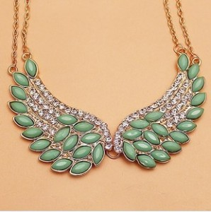 X279 Korean jewelry new fashion generous Cupid angel wings necklace inlaid Fangzuan female accessories Free shipping