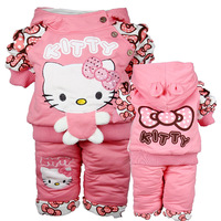 new arrival girls hello kitty cotton warm suits ,winter fashion hooded cartoon baby suits 1057