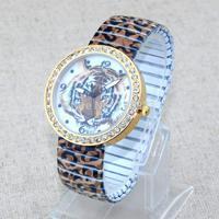 New Tiger Numerals Diamond Dial Fashion Women Quartz Analog Stainless steel Elastic Wristbands Watch