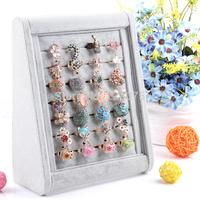 Gray Velvet Ring Display Show Case Organizer Jewelry Display Shelf Jewelry Frame  Tray Stand