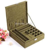 2014 New Fashion Green Jewelry display suede casket / Senior jewelry box organizer / case for jewelry storage Christmas gift box