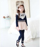 Wholesale 5pc/lot Fashion Lace Collar Long Sleeve Splicing Children Cotton dress Kids Tulle Dress Princess Dress Navy Pink