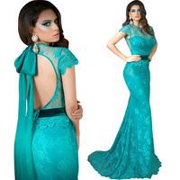 Custom Mad eBlue Short Sleeve Lace Mermaid Mother Of The Bride E265