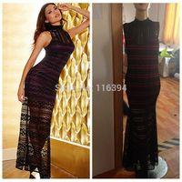 Free Shipping 2014 Autumn Black Lace Dress Elegant Long Party Vestidoos Women Bodycon Club Fashion Casual Maxi Bandage Gowns