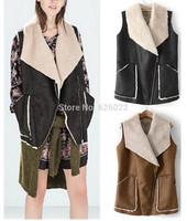 2014 New Fashion Women's Large Lapel Faux Fur Collar Faux Suede Zipper Vest Gilet Sleeveless Waistcoat Coat Outerwear 2 Colors