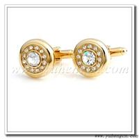 Free shipping YH-370GL/CRY Gold Crystal Cufflinks,Rhinestone Cufflinks- Factory Direct Selling