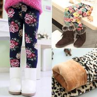 2014 winter Spring Winter New Fashion Children's 2-8 Year extra Warm Pant Girls Flower Thickening Print children Legging
